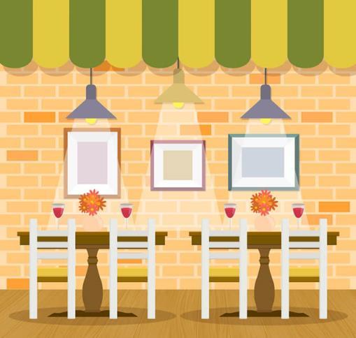 彩色餐厅内部装饰矢量素材设计