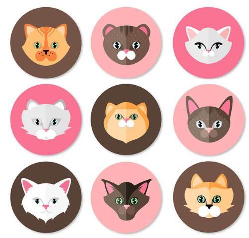 卡通彩色圆形猫咪头像矢量素材
