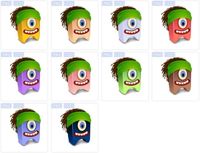 10款搞怪头发发型设计ico图标素材