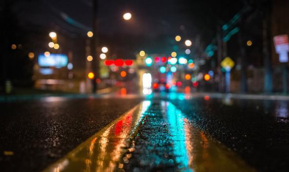 雨后夜晚的街道風景精美圖片