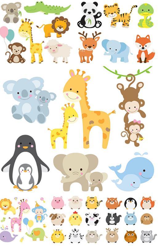 多款卡通呆萌动物设计ai素材