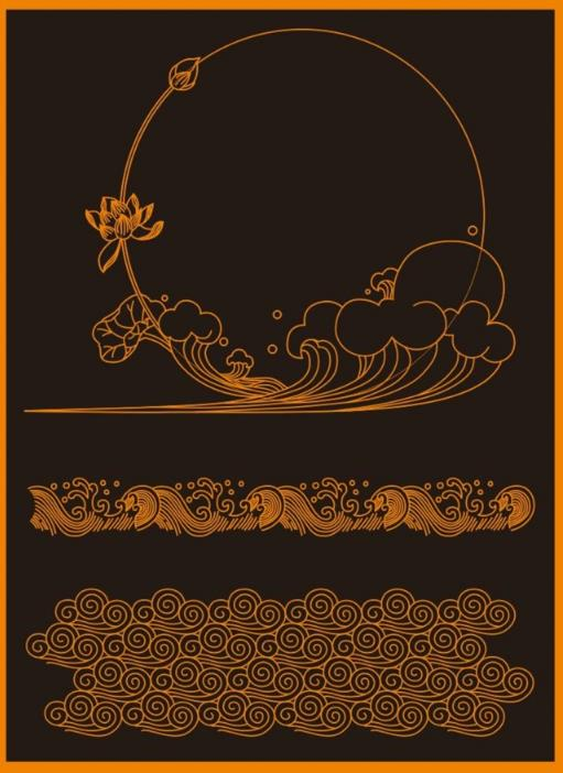 设计师们需要的荷花和海浪素材可以选择这款中式海浪花纹边框图案AI素材,其中都是以点连成线的模式绘画的海浪与荷花的造型,其中以黑色为背景,图片边框的橙色与素材中的颜色是一样的,美丽的荷花加上浪花更显独特的设计,需要的话就来数码资源网下载吧。