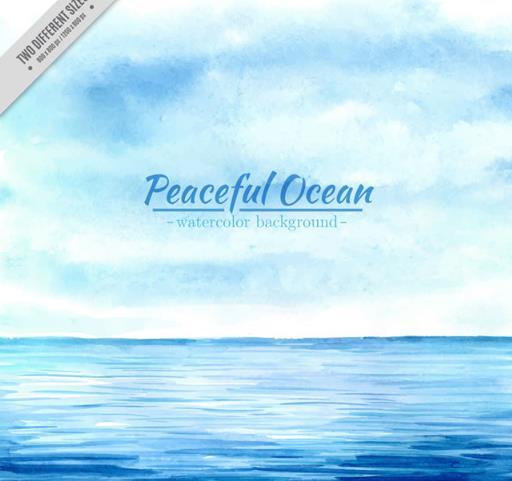 手绘蓝色海面与蓝天风景设计ai素材