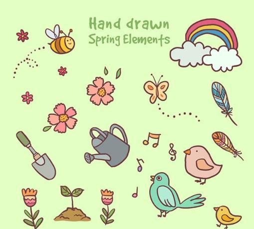 彩色手绘春季动物与植物ai素材