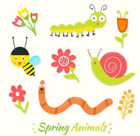 蜗牛,蜜蜂等小昆虫的元素加入,卡通形式展现的素材设计的都非常可爱