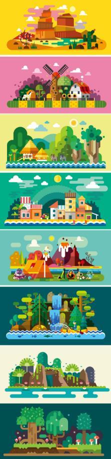 彩色扁平化旅游风景矢量素材