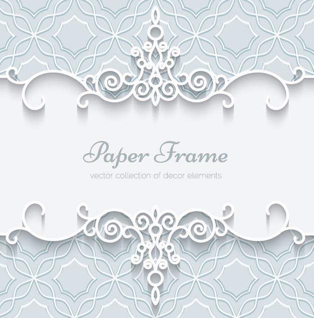 蕾丝花边不仅只有在服饰上出现的,其中在这款蕾丝花纹边框卡片设计矢量图中也出现了,图片中间以白色背景呈现的,其上下都是以白色与灰色的蕾丝花边呈现出来的,花纹也是对称呼应设计的,中间白色背景下加入了灰色的英文字母设计,图片还是以卡片的形式展现给设计师们。