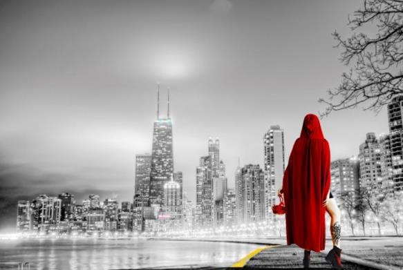 红衣背影精美图片