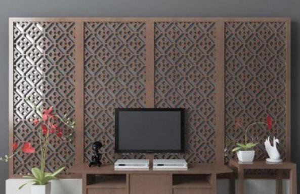 中式风格电视墙材质模型特色