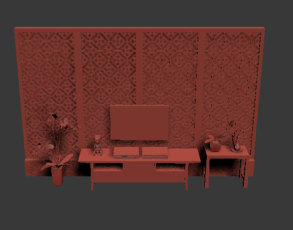 中式风格电视墙材质模型
