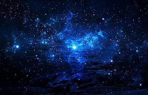 璀璨美丽蓝色星空设计矢量图