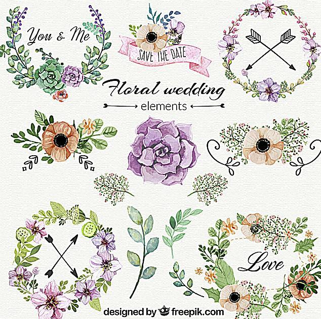 彩绘花艺花卉边框设计ai素材