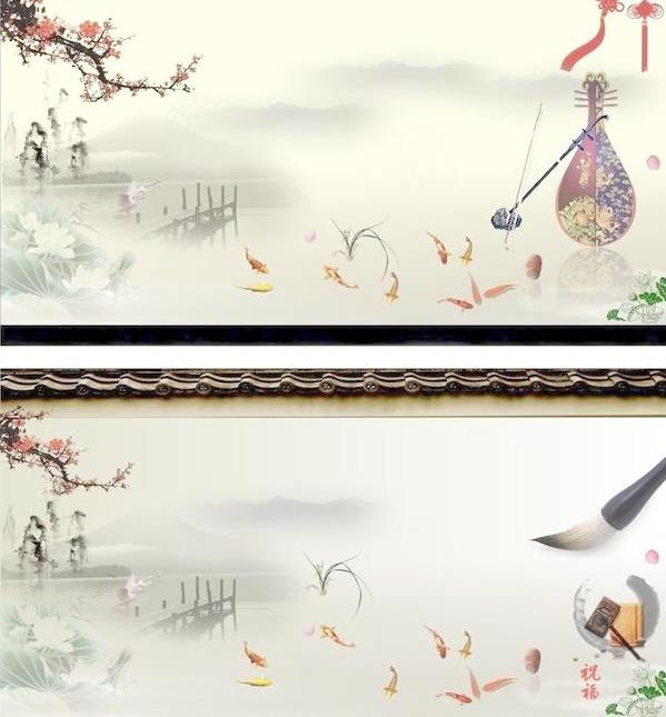 中国的水墨画可是远近闻名的文化艺术,那么这款中国风传统水墨风景设计矢量图中就设计了2组以水墨画为元素的风景图片造型,江南风景一般青山绿水是一定不可缺少的,加入彩色梅花设计更有韵味,荷塘中还有多个金鱼的造型设计,还加入具有中国风的古琴与毛笔的图案设计非常具有中国传统气息。