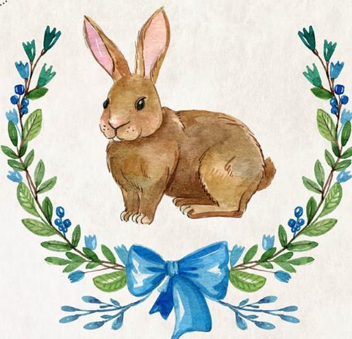 彩绘可爱兔子设计矢量图