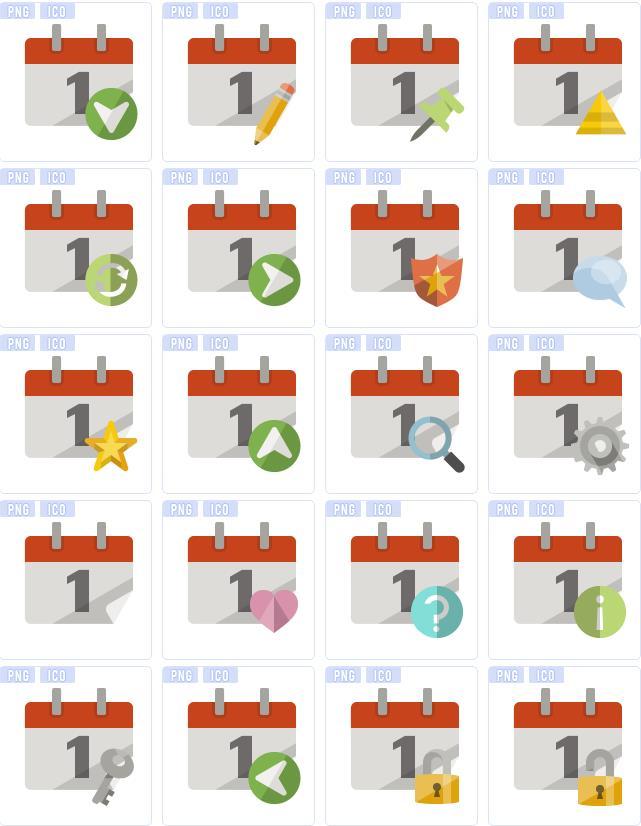 中就是以日历为元素设计的图标图案造型,图标图案设计的也是非常简单