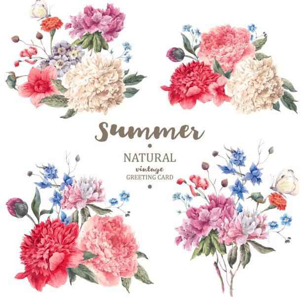 4款精美浪漫彩色花卉植物设计矢量图