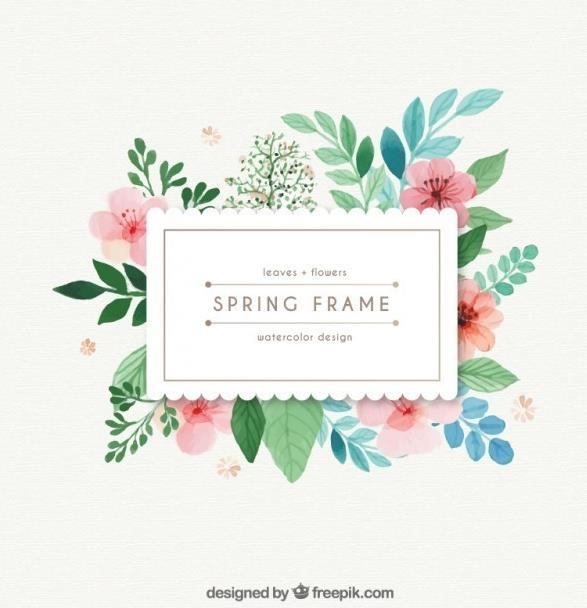 水彩树叶和花的春天矢量素材图片