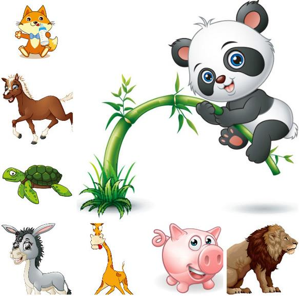 卡通可爱呆萌动物设计矢量图