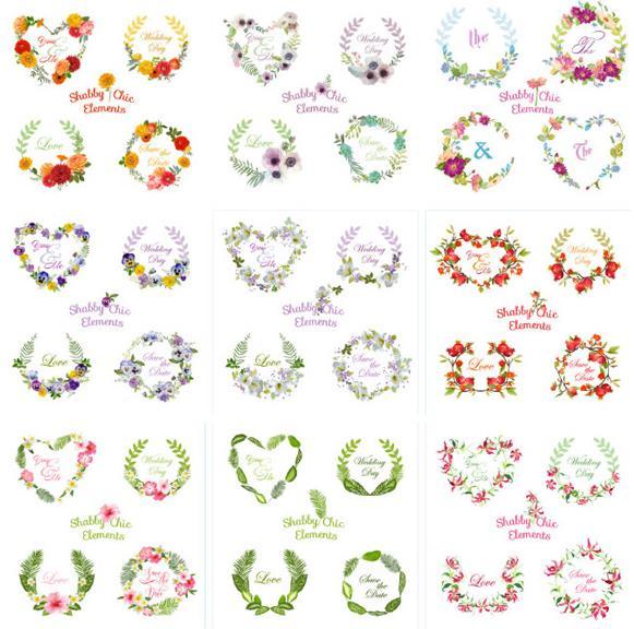 花环的造型一定缺少不了花卉,那么9款花朵花环边框矢量素材设计中就设计了9款以花卉为元素设计的花环造型,其中包括爱心圆圆形的花环造型设计,颜色也有橙色,紫色,红色,蓝色,绿色,粉色等多种颜色组成的花环造型,设计师们需要的话就来数码资源网下载使用吧。