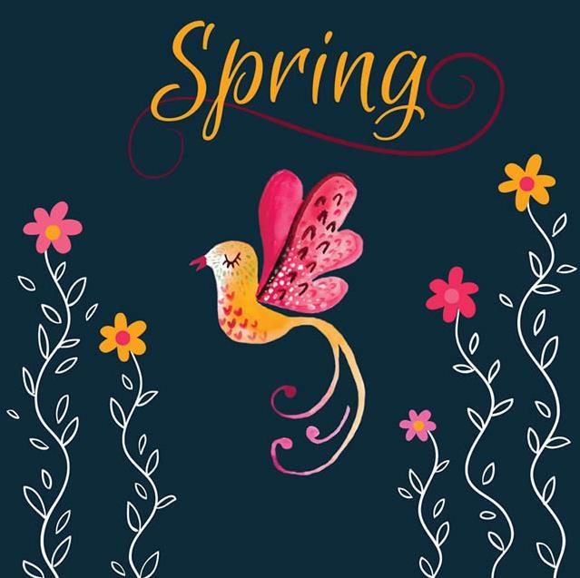 彩绘黑色背景春季花鸟矢量素材设计