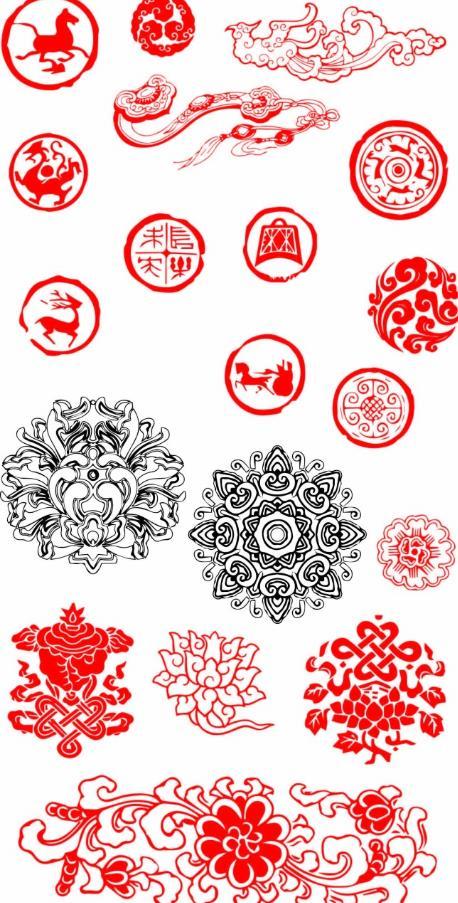 传统吉祥祥云和花纹图案矢量图片素材