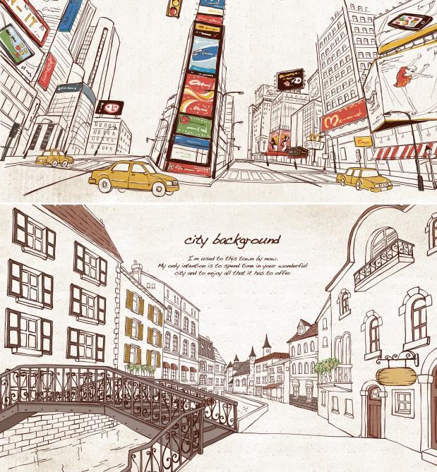 素材中通过手绘线条插画的方式展现出了城市的景色,颜色的搭配非常的