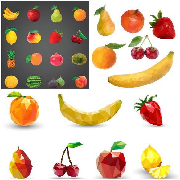 水果的素材可是分很多种的,其中这款色块层叠水果矢量素材可是比较具有创意的设计了,每个水果都是以层叠的三角块组成过的,其中包括了香蕉,苹果,梨,桔子,樱桃,菠萝,石榴,西瓜,柠檬,桃子,草莓等水果的造型设计,背景也设计了一部分白色与黑色,需要就来本站下载吧。