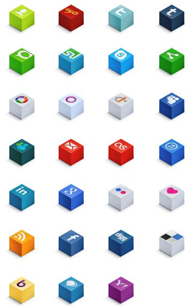 彩色立体正方形ico图标设计