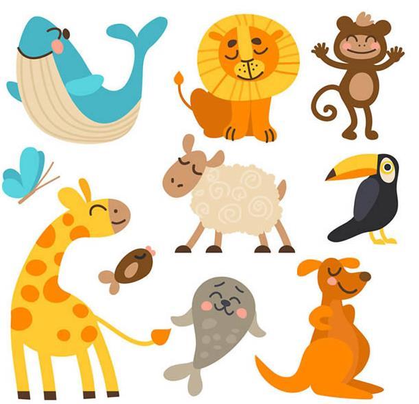 卡通可爱笑脸动物矢量素材设计