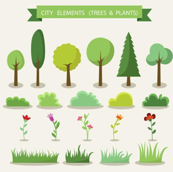 扁平化卡通绿色植物AI素材