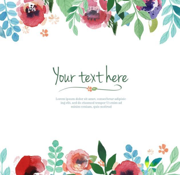 水彩塑造出来的花卉图案可是别有风味的,其中包括了这款水彩花卉边框背景设计矢量图,背景呈现白色,加入了红色水彩的花朵设计和绿色的水彩叶子造型设计而且还有一些独特颜色的花朵造型设计都是以边框的形式展现给大家的,中间加入了绿色的英文造型,需要就来下载吧。