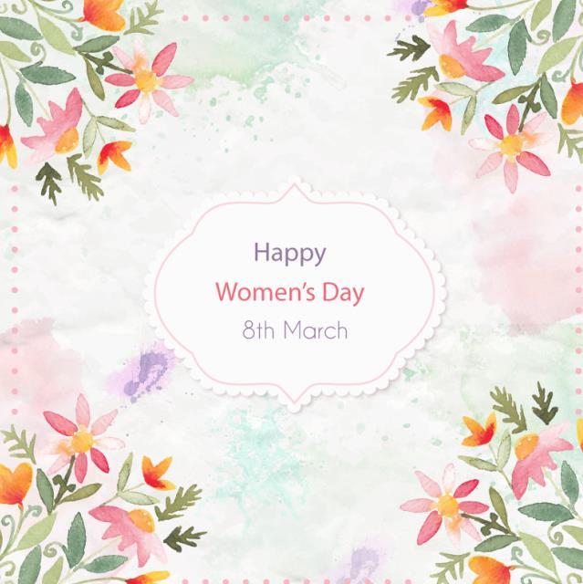 妇女节水彩手绘温馨花朵设计ai素材