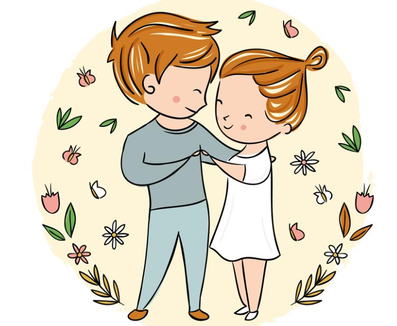 卡通微笑着跳舞的情侣矢量素材图片