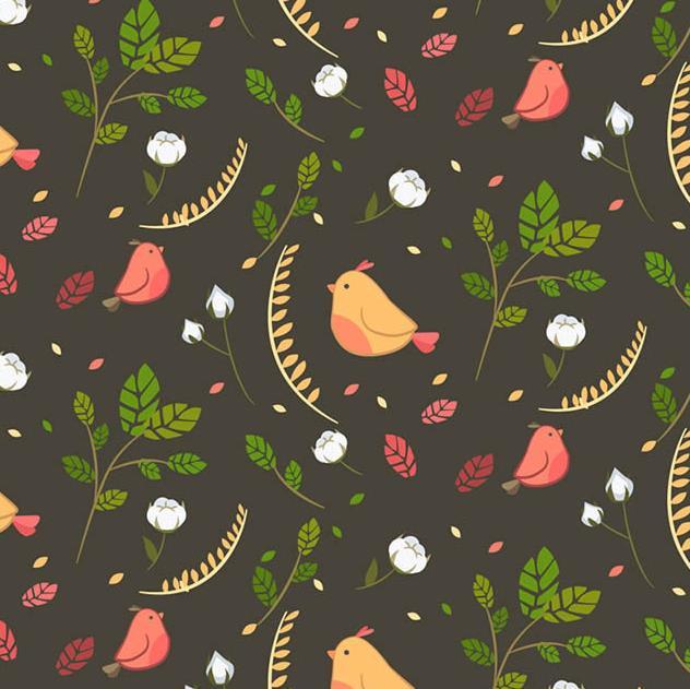 小鸟和树叶都是代表着春天,所以有关春天的素材可以选择这款卡通可爱小鸟和叶子背景矢量图片素材,其中设计了黑色的背景下加入了抽象的卡通小鸟的造型,还有绿叶的小树叶,整体设计出非常具有创意的无缝背景造型,小鸟的颜色也有黄色和红色两种搭配设计而成,需要就来本站下载吧。