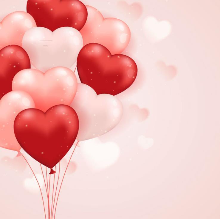 粉色和红色的爱心气球像一朵花束一样被扎起来,气球下方还有红色绳儿