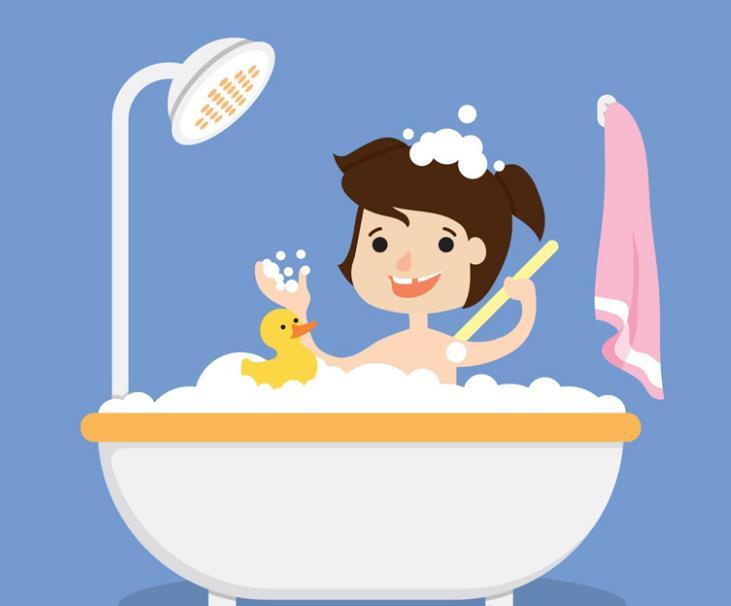 勤讲卫生勤洗澡,那么这款卡通洗浴的儿童和小黄鸭矢量素材设计就是以男孩日常生活中洗澡为题材设计而成的,男孩在浴缸中手拿搓澡帮在搓背,右手还玩上了白色的泡泡,浴缸中还有可爱的小黄鸭作陪哦,蓝色背景墙上还挂着一个粉色白边的毛巾,整体以生活中洗澡为元素设计而成。