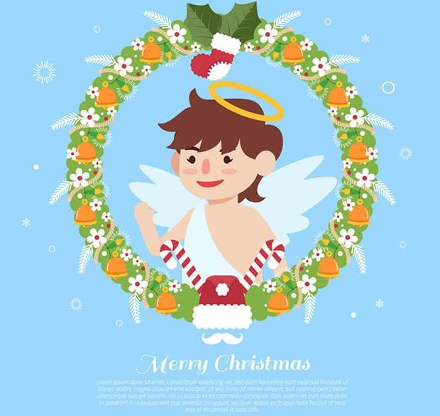 天使的造型一直都是一身白色衣服头顶光环的设计,卡通天使和花环设计AI素材中也是一样哦,绿色为主的花环中天使在花环中央做出了打招呼的动作,而且花环的造型可是以圣诞元素设计而成的,铃铛,红色小袜子,红色圣诞帽,圣诞老人的拐杖等等充满了圣诞的元素设计,需要就来本站下载吧。