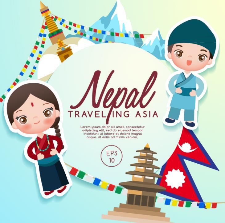尼泊尔旅行和人物剪贴画矢量素材图片