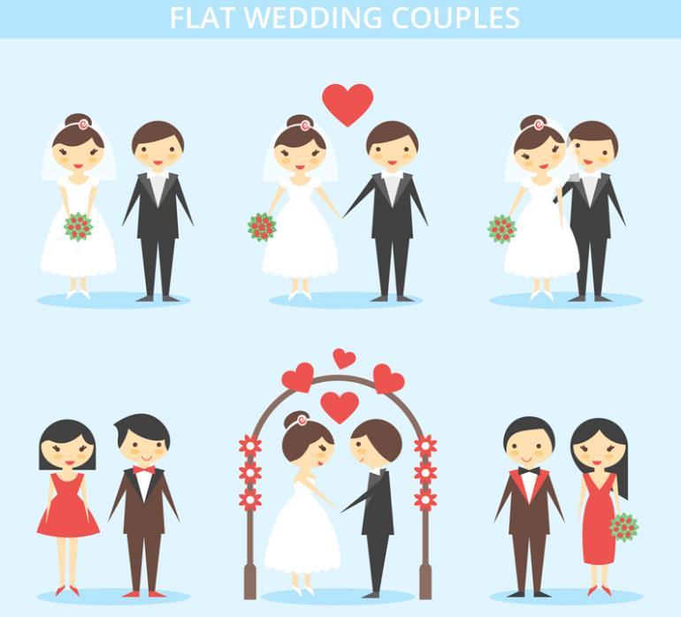 6对卡通婚礼新人矢量素材
