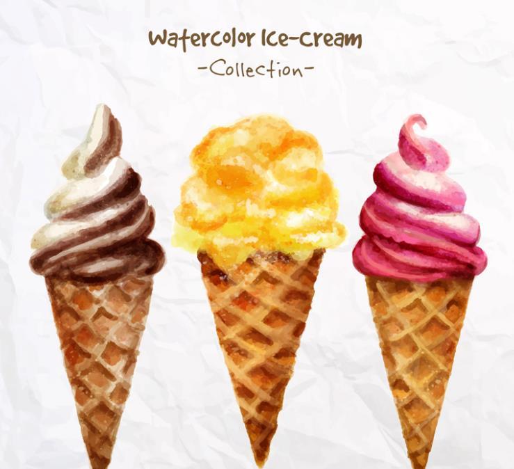 彩绘甜筒冰淇淋设计矢量图