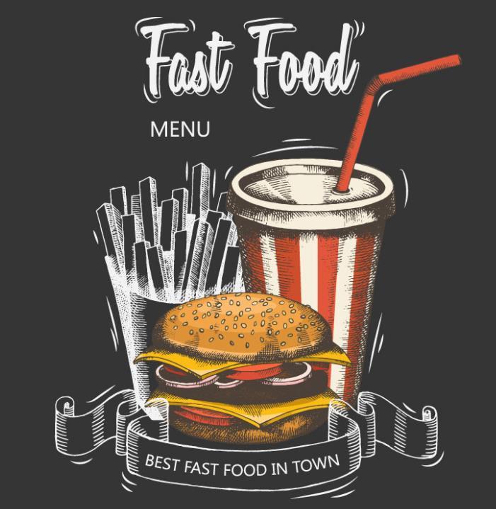 年轻人都比较喜欢吃快餐,所以彩绘快餐食品设计矢量素材也是小编为设计师们准备的一组彩绘快餐素材,其中黑色背景下加入了彩绘的纸杯可乐,手绘薯条,彩绘汉堡等快猜元素,汉堡上洒满了白色芝麻看起来就很有食欲,而且还加入了大片的芝士片西红色片还有鸡排等一起汇入汉堡中,图片下方还手绘了丝带的造型。
