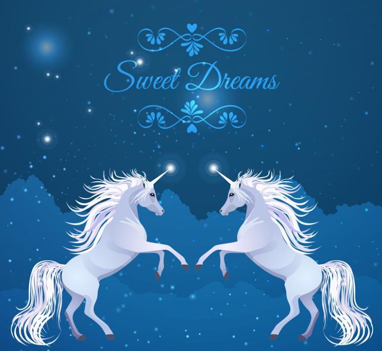 了白色的星星造型就更加具有梦幻效果了,两只独角兽面对面站立起来,上