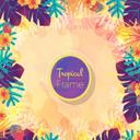 彩色热带植物花卉边框矢量图片素材