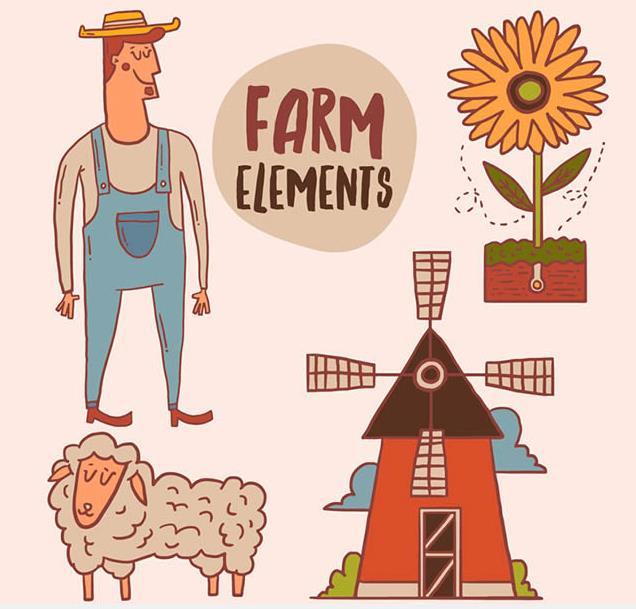 需要以农场元素设计的素材就来卡通人物与农场元素矢量图吧,其中设计了多款卡通的农场元素还有卡通人物的造型设计,人物则是一名男性,侧脸站立的状态呈现给大家,一身牛仔被单裤,灰色T恤,鞋子的颜色竟然与头发一样,还带着黄色遮阳帽,农场素材包括了葵花,风车,磨房,绵羊,农场等元素的设计。