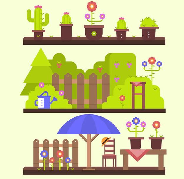 扁平化卡通花园风景与盆栽矢量素材设计