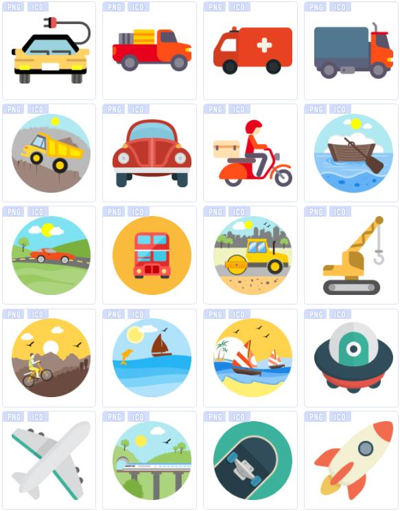彩色交通工具设计素材png图标