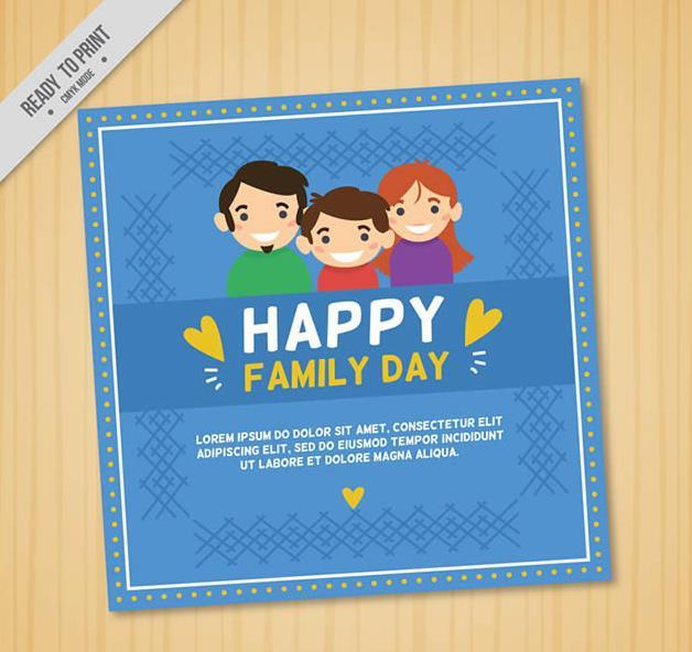 一个家庭的组成由爸爸,妈妈,孩子组成的,缺一都不算是完整的家庭,卡通家人头像家庭日贺卡矢量素材图片中就以一家三口头像设计的家庭日贺卡造型,其中一家三口以微笑头像展现给大家,蓝色背景下加入了白色边框的设计,而且贺卡上还以白色字体设计了happy family day英文字样。