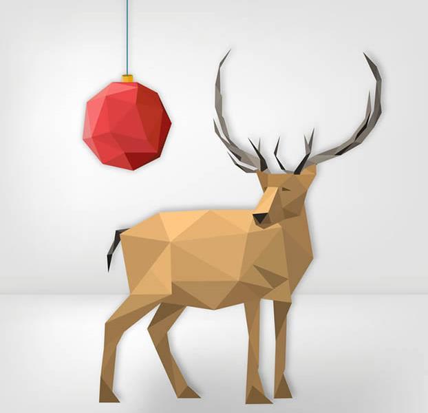 创意红色圣诞吊球和抽象驯鹿ai素材