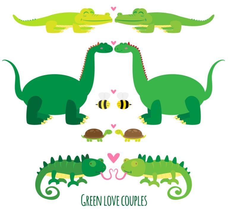 5对绿色卡通动物情侣矢量图片素材