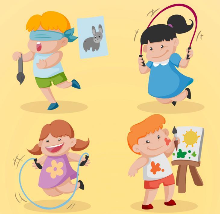卡通跳绳和画画的儿童矢量素材